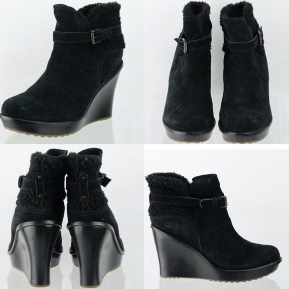3669f4865c7 Women's UGG Anais black suede wedge ankle boots